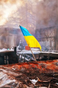 Flag on barricade in Ukraine